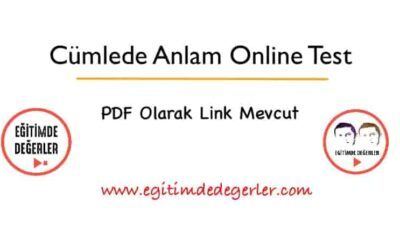 Cümlede Anlam Online Test 1 (+PDF)