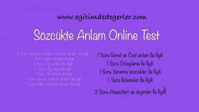 Sözcükte Anlam Online Test 1