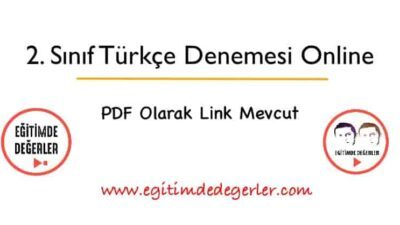 2. Sınıf Online Türkçe Denemesi (+ PDF)