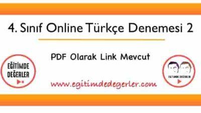 4. Sınıf Online Türkçe Denemesi 2 (+PDF)