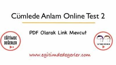 Cümlede Anlam Online Testi 2 (+PDF)